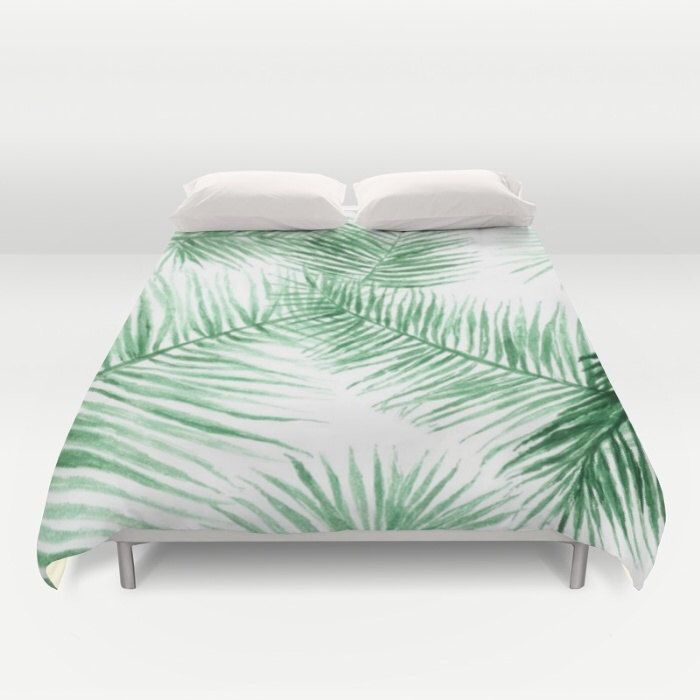 cover palm duvet tropical by product covers naturemagick leaf