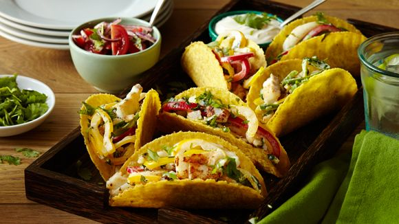 FISH TACOS - Struggling to get your kids to eat fish? This is a fun dish. You can stuff the tacos with pretty much any kind of meat (no need to roll them completely, as with the enchiladas), and they'll always be great. However, nothing really beats fresh fish.