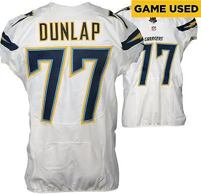 King Dunlap Chargers Game-Used #77 White Jersey vs Houston Texans on 11/27/16