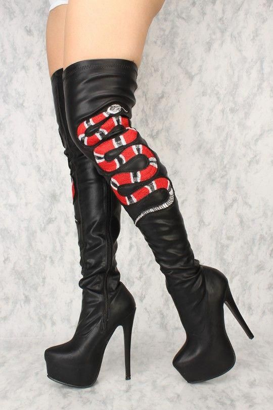 23b2d524b54c Sexy Black Snake Platform High Heels Thigh High Boots  Blackhighheels