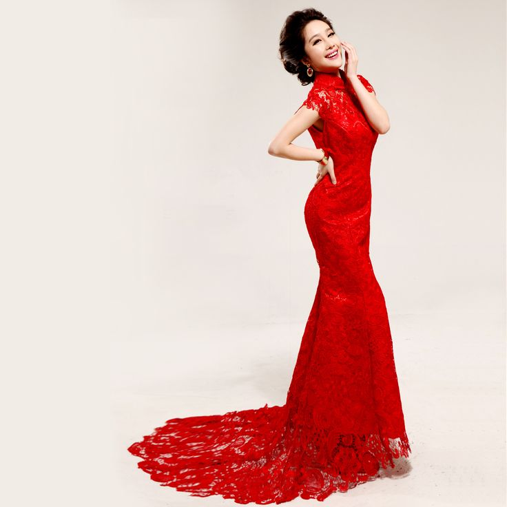 Red lace trailing party dress chinese mandarin collar red for Asian red wedding dresses