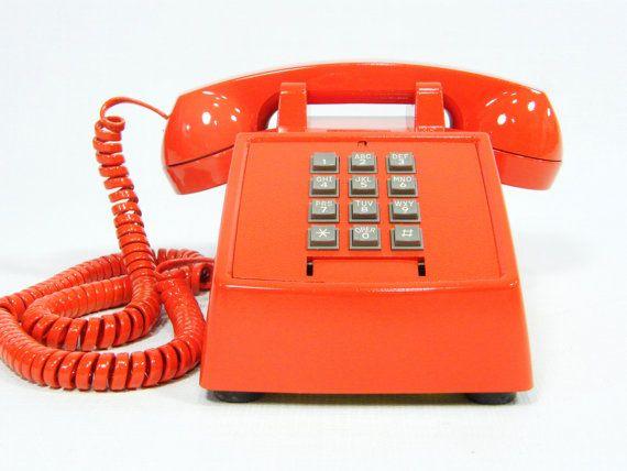 Vintage telephone tangerine orange push button phone by ohiopicker