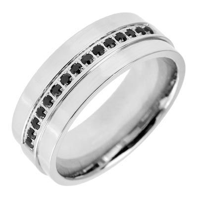 mens 16 ct tw enhanced black diamond wedding band in stainless steel