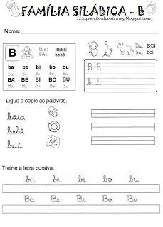 1,2,3, aprendendo outra vez...: Atividades - Famílias silábicas