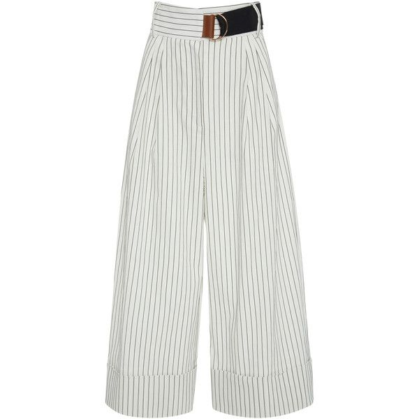 Tibi Cecil Pinstripe Cropped Wide Leg Trousers (715 115 LBP) ❤ liked on Polyvore featuring pants, capris, stripe, striped trousers, striped wide leg trousers, tibi pants, wide-leg pants and striped pants