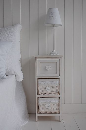 White Wash Narrow Bedside Table With Drawers And Baskets