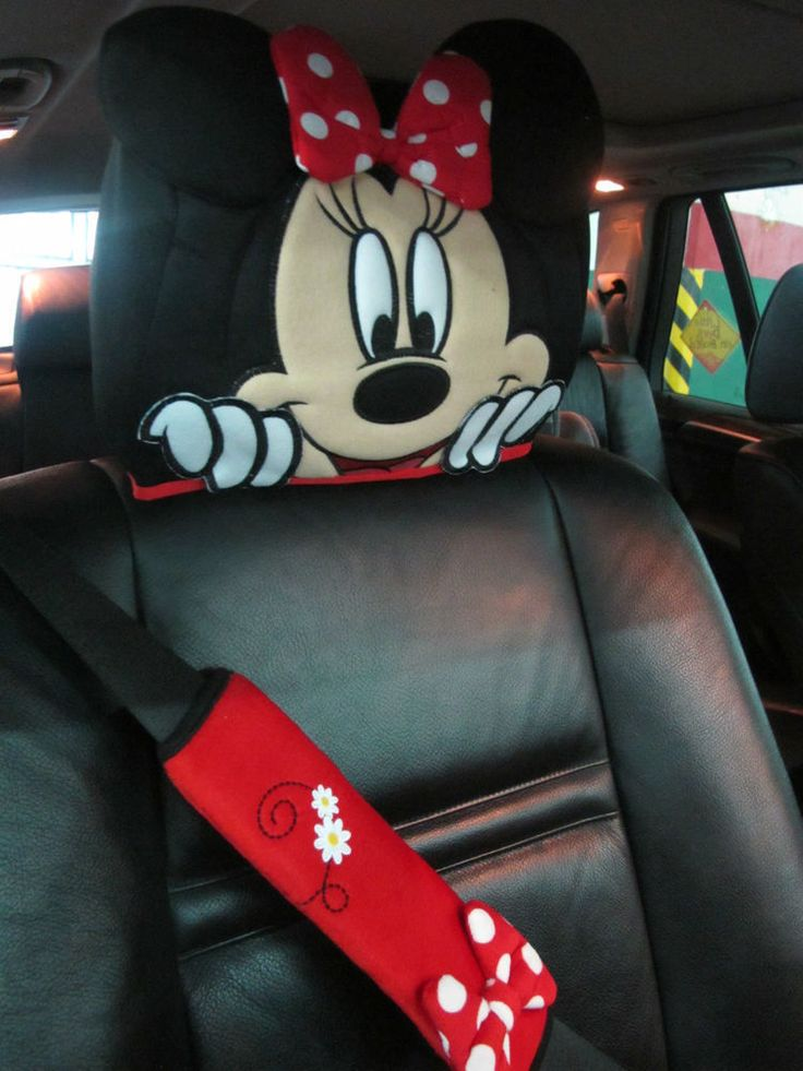 1 X Disney Minnie Mouse Costume Car Accessories Doll Toys Head Rest Cover Seat