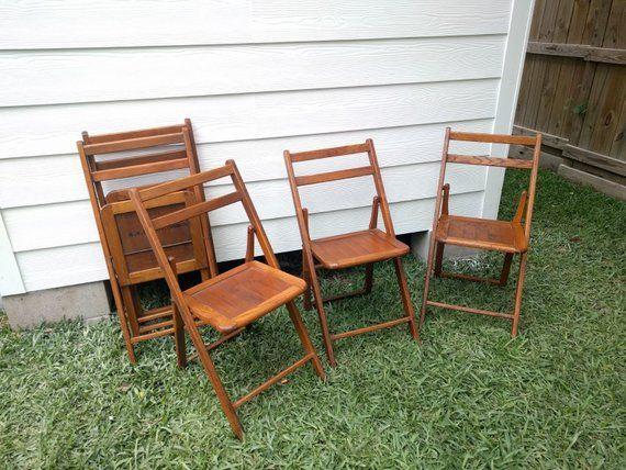 Awe Inspiring 1940S Komfort Wood Folding Chair Rustic Church Chairs Ncnpc Chair Design For Home Ncnpcorg