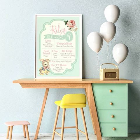 Fall in love with our Vintage Bunny Birthday Board! 🐰 Custom made for little Riley who turns 3 next month!  #birthdayboards #vintage #bunny #customdesign