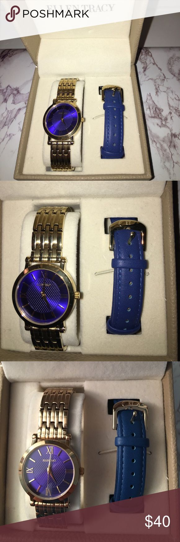 Ellen Tracy woman's watch Ellen Tracy women's watch gold and blue. You can interchange the gold band & the leather blue band. Comes with the extra links that I took off. Never worn this watch it's just been sitting in my closet. No scratches or anything like that since it's been in the box. Please ask for more pictures you want! Questions offers & comments welcome! Ellen Tracy Accessories Watches