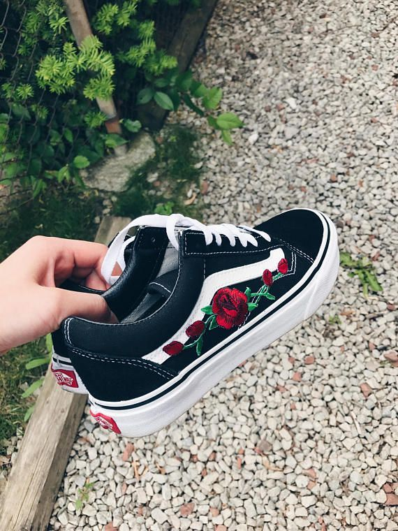 910551015a Tumblr Embroidered Custom Rose Vans in 2019