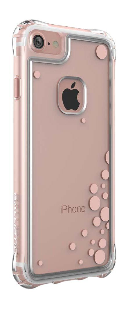 iPhone 7 Case, Ballistic [Jewel Essence] Clear with Rose Gold Bubbles Design on Back Panel Six-sided - 6ft Drop Test Certified Case Protection Rose Gold Bubbles Bumper Phone Case for iPhone 7. DUAL-LAYERED PROTECTION - Hard Polycarbonate back panel prevents any air bubbles on back of phone and NO YELLOWING - combined with Thermopolyurethane Plastic corners - Engineered by Ballistic Labs using the most durable materials, Ballistic Cases protect all sides of your smartphone against drops...