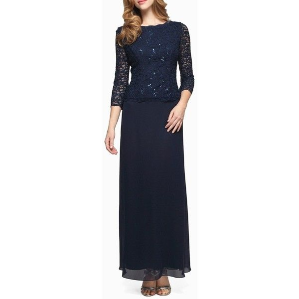 Women's Alex Evenings Sequin Lace & Chiffon Gown ($169) ❤ liked on Polyvore featuring dresses, gowns, navy, petite, sequined dress, navy blue lace dress, petite evening gowns, petite dresses and petite evening dresses