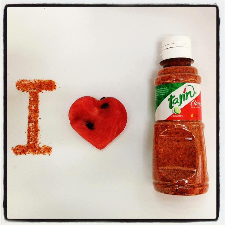 I love Tajin, with heart-shaped watermelon. Summer color combinations.