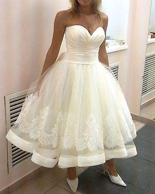 Short White/Ivory Lace Wedding Dress Bridal Gown Custom Size 2 4 6 8 10 12 +++++