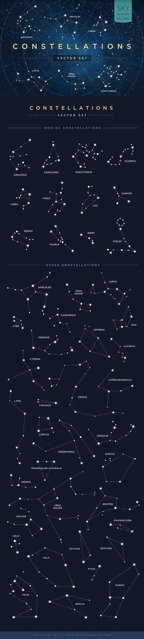 Constellations Vector Set by skyboxcreative #Illustration #Constellation tatuajes   Spanish tatuajes  tatuajes para mujeres   tatuajes para hombres   diseños de tatuajes http://amzn.to/28PQlav