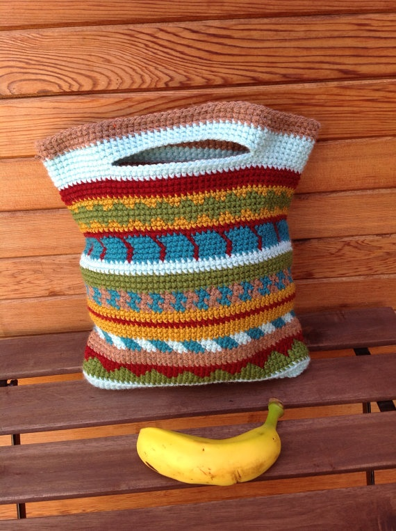 indian style crocheted bag by Florelina on Etsy, ₪80.00