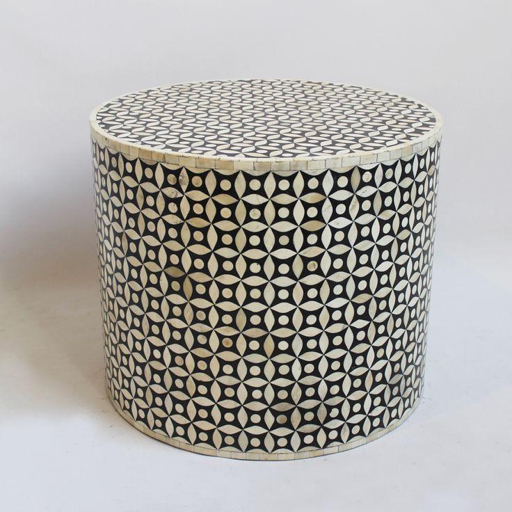 Bone Inlay Round Coffee Table. White bone inlay with black