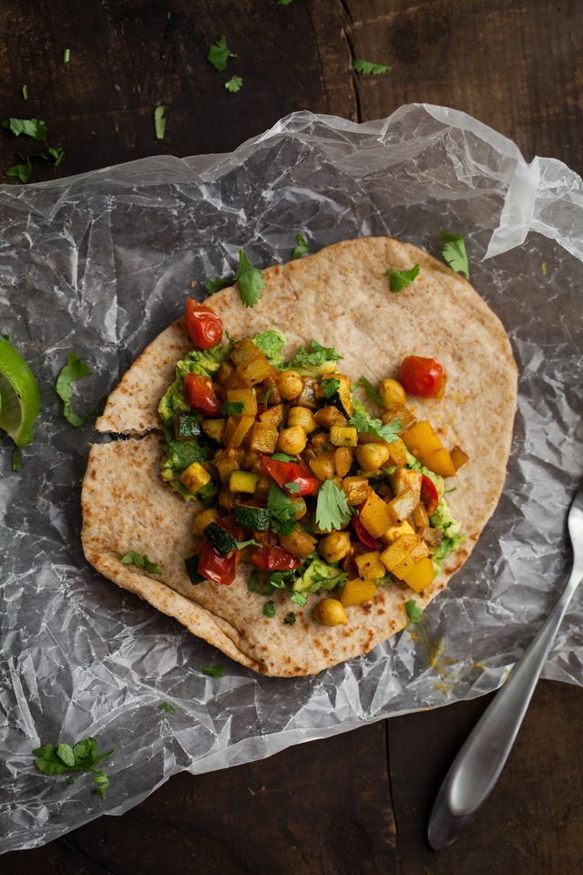 curry roasted vegetables and avocado naan-which | naturally ella