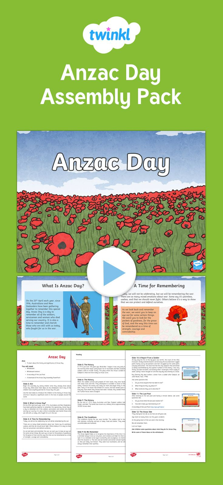 A brilliant resource to support an assembly on the history, significance, and time to remember our Australia and New Zealand soldiers on Anzac Day.