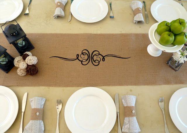 burlap table settings w lanterns