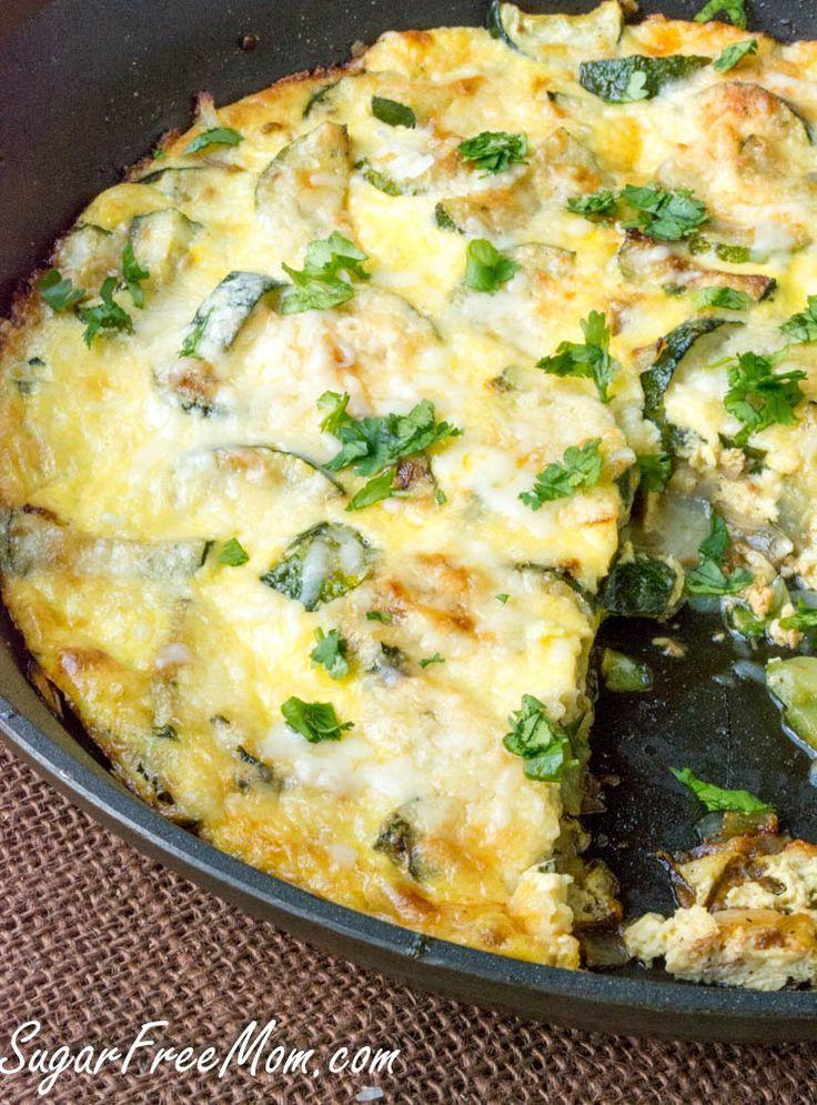 Low Carb Cheddar Zucchini Frittata- gluten free, grain free- sugarfreemom.com