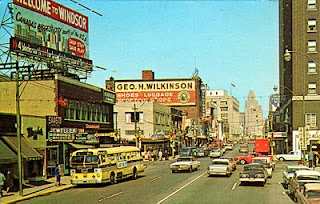Park Street and Ouelette Avenue, Windsor, Ontario.  Judging from the cars around 1964.