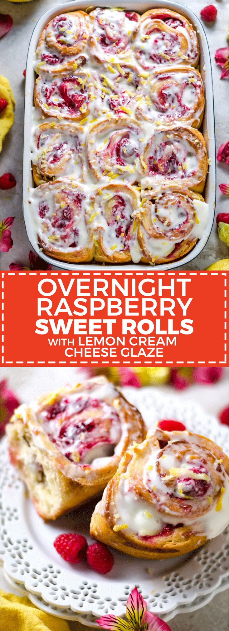 Overnight Raspberry Sweet Rolls with Lemon Cream Cheese Glaze. A brunch-lover's dream. | ad | hostthetoast.com  BobsSpringBaking @bobsredmill