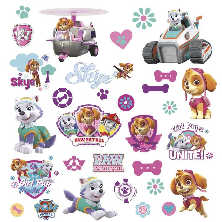 RoomMates Paw Patrol Girl Pups Dogs Peel and Stick Wall Decals Bedroom Decor fun | eBay