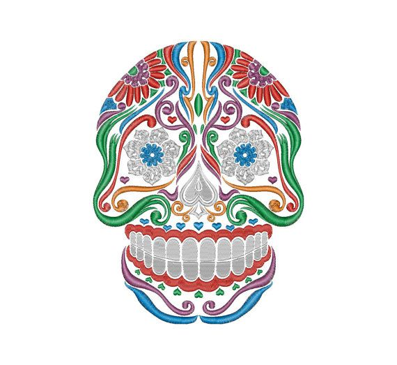 Sugar Skull Machine Embroidery Design Instant Download