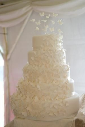 butterfly wedding cake white on white, butterrflies sweeping around cake and flying of the top.