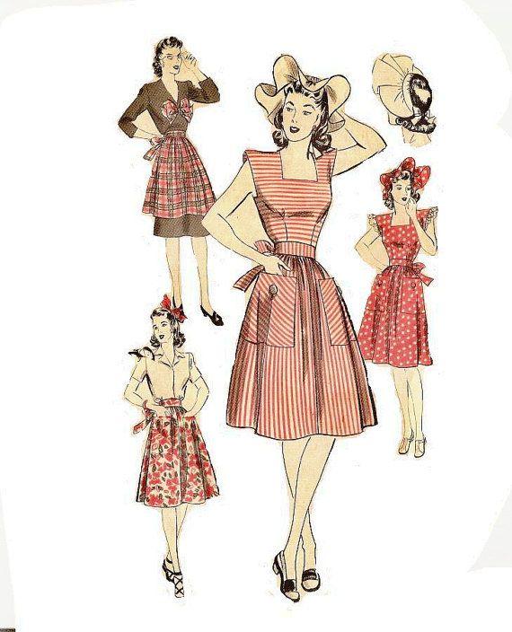 années 1940 chasuble Womens robe motif modèle Sunbonnet