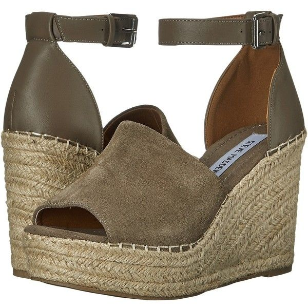 Steve Madden Marina (Taupe Suede) Women's Shoes ($70) ❤ liked on Polyvore featuring shoes, sandals, open toe sandals, steve madden espadrilles, taupe sandals, high heel platform sandals and platform espadrilles