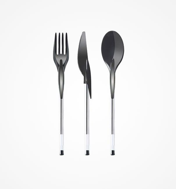 Din-Ink Pen Cap Eating Utensils. Made from non-toxic food approved materials, so you can chew your pen without guilt.