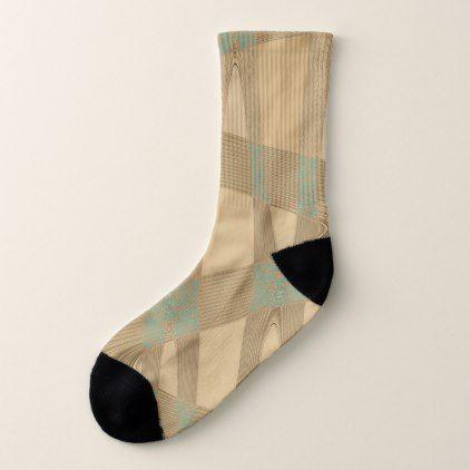 Blue Beige Pattern Men Women Socks by Tell3People - blue gifts style giftidea diy cyo