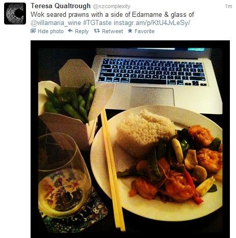 @nzcomplexity  Wok seared prawns with a side of Edamame & glass of @villamaria_wine #TGTaste