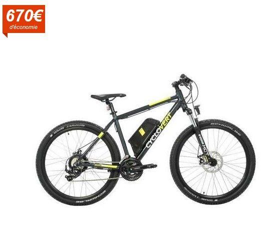 CYCLOVERT Vélo VTT Éléctrique Cyclosport VAE Alu pas cher prix  Vélo Electrique Cdiscount 929.99 € au lieu de 1 600 €