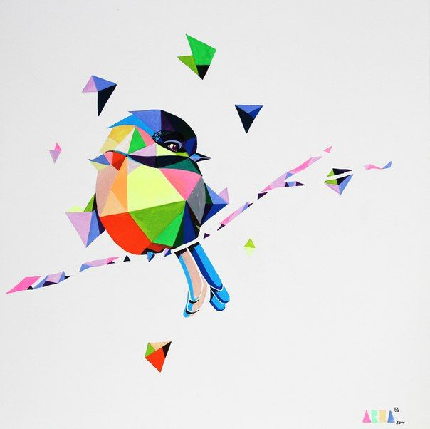 polygonal bird, polygonal, molotow, canvas, illustration,