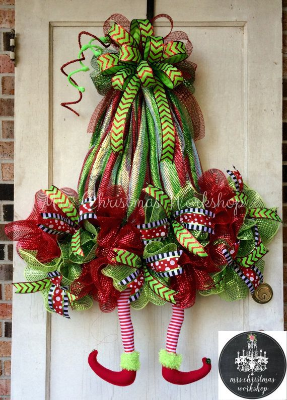 Christmas wreath elf wreath with legs deco by MrsChristmasWorkshop ...