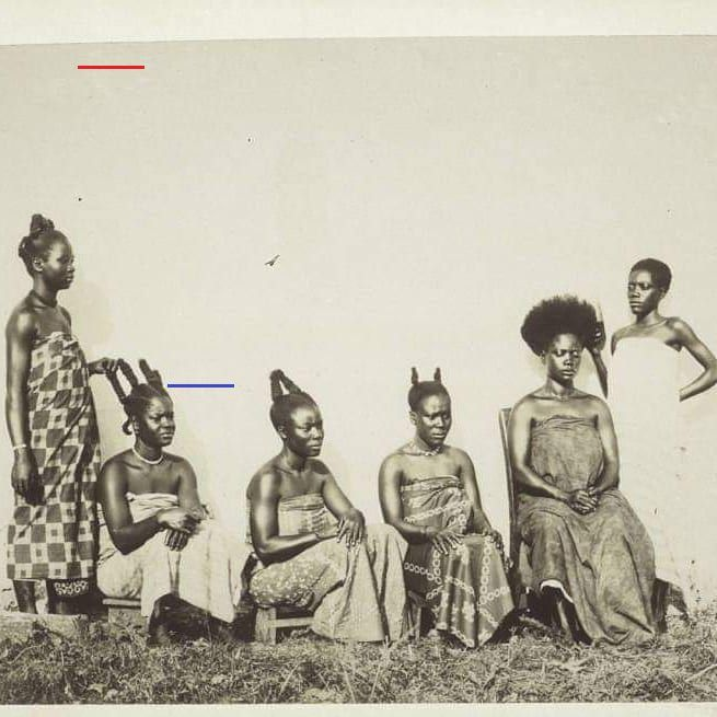 """Fante Asafo Flags on Instagram: """"Fante women getting  trendy hairstyles in Cape Coast. - circa late 19th century.  It is interesting to note that this hairstyle is still in…"""""""