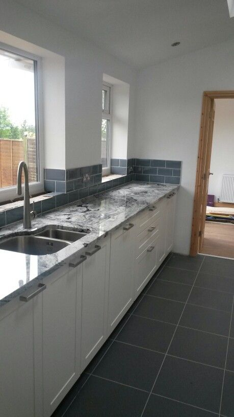 Viscount White Granite With Blue Ice Metro Tiles Kitchen