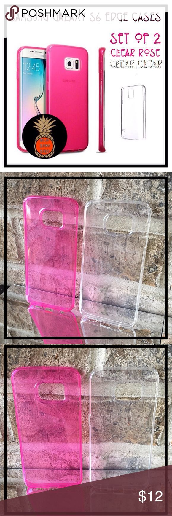 NEW SAMSUNG GALAXY S6 EDGE SMARTPHONE CASES SET 🆕 SAMSUNG GALAXY S6 EDGE SMARTPHONE JELLY CASES 💗 SET OF 2 🆕  ▪️Size: Galaxy S6 Edge cases only. ▪️Colors: Clear Rose, Clear Clear. ▪️Made of flexible Silicon. ▪️Easy access to all functions & ports.  💗 Great jelly cases for Fun & Love in February! 💗  ‼️ CASES ONLY ‼️ ❌Galaxy S6 Edge phone Not Included❌ Accessories Phone Cases
