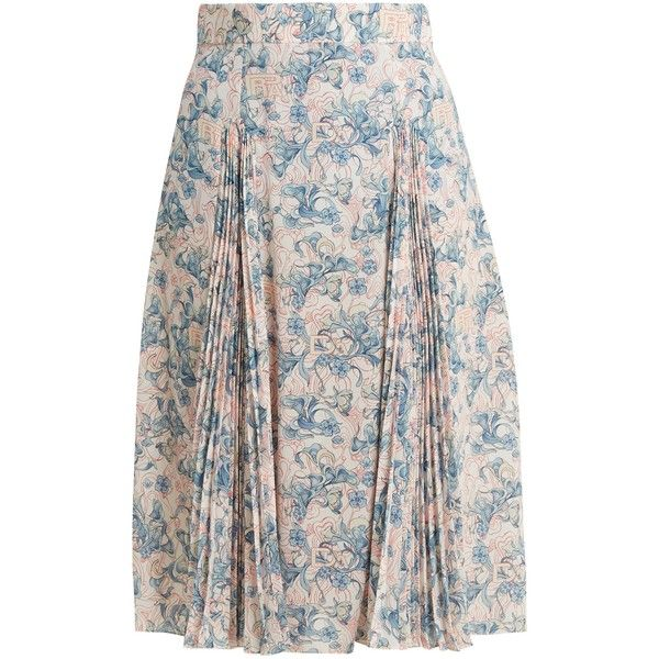 Prada Sable floral-print crepe skirt ($1,560) ❤ liked on Polyvore featuring skirts, blue print, flower print skirt, high waisted pleated skirt, high waisted floral skirt, print skirt and pleated skirt