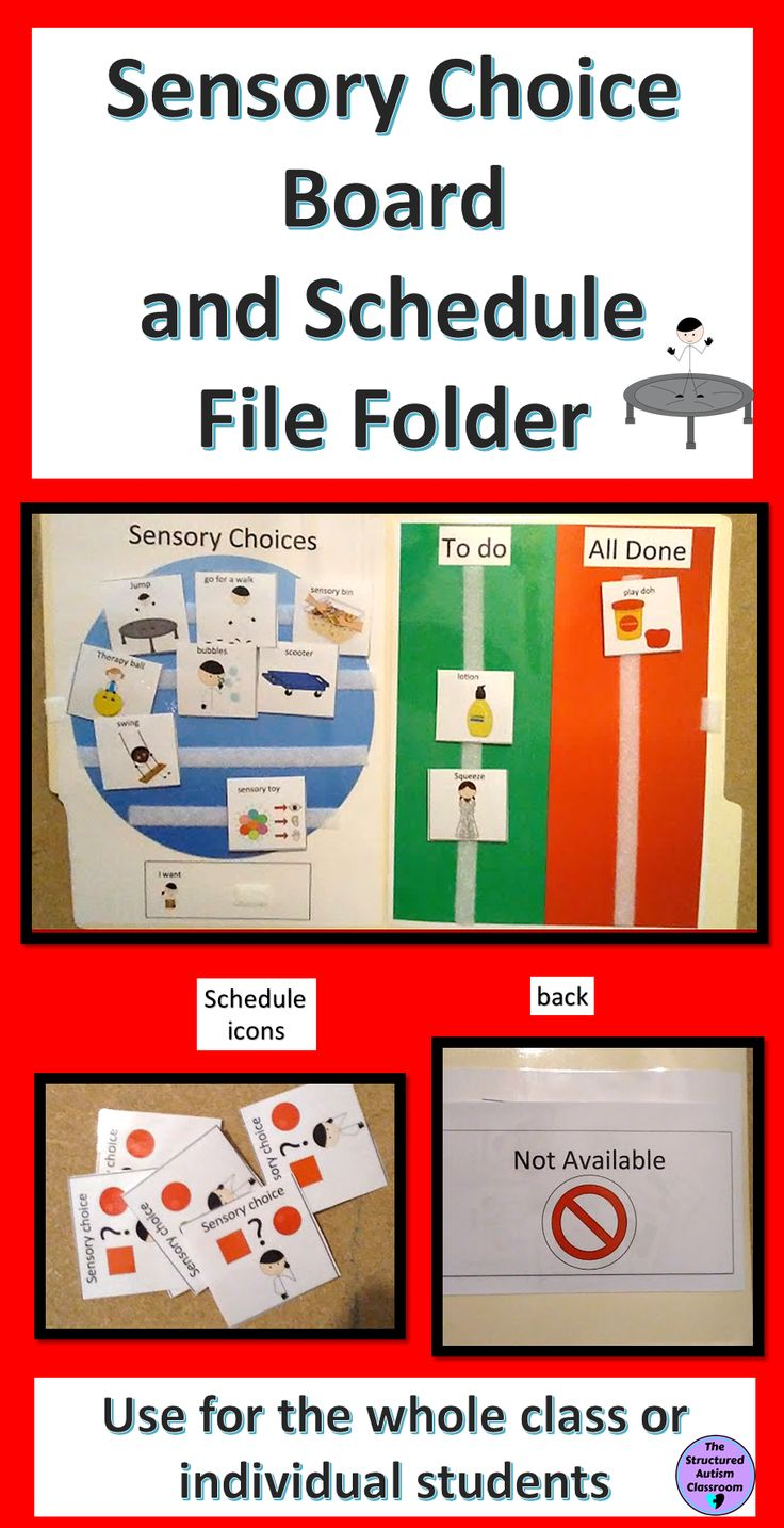Autism Sensory Diet Choice Board and Schedule File Folder. Perfect for incorporating sensory input throughout the day or for use during Occupational Therapy.