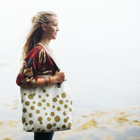 CANVAS + LEATHER TOTE <br>dot print in white and metallic gold