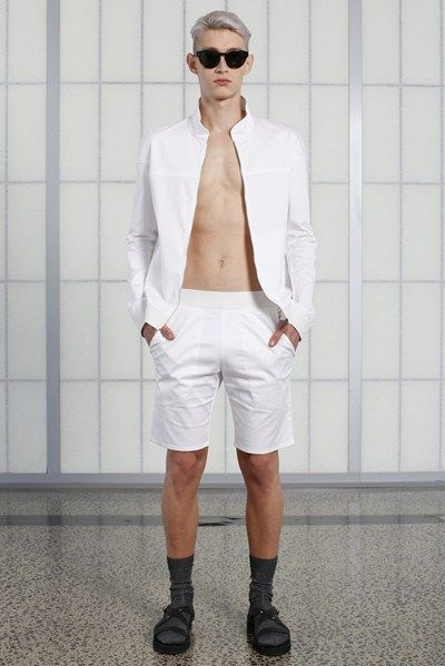 s/s 13/14 mens key looks - M01. motorcycle jacket in white, fitted short in white, jetson tinted eyewear.