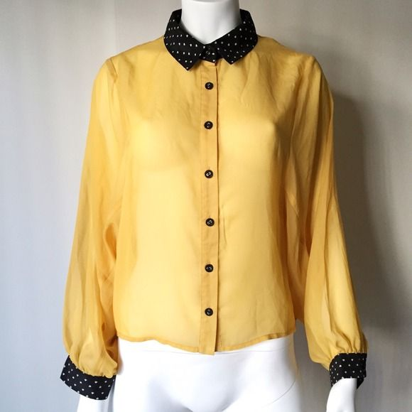 Yellow Batwing Top + Black Collar and Cuffs NWOT. Never worn though the tags are no longer attached! Found this in the back of my closet. Goes great with pants or a skirt! Zara Tops Button Down Shirts