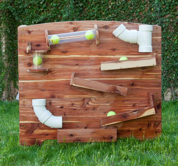 Playground ball track, Plinko style exploration wall, Tracking Panel - $1200 cedar, for tennis balls, ping pong balls, Matchbox cars, etc.
