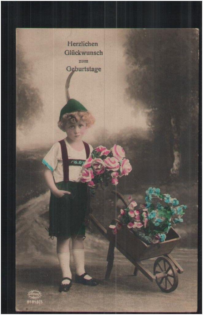 157.853 Geburtstag, Kind mit Blumen und Schubkarre, Lederhose, Hut, Foto-AK | eBay