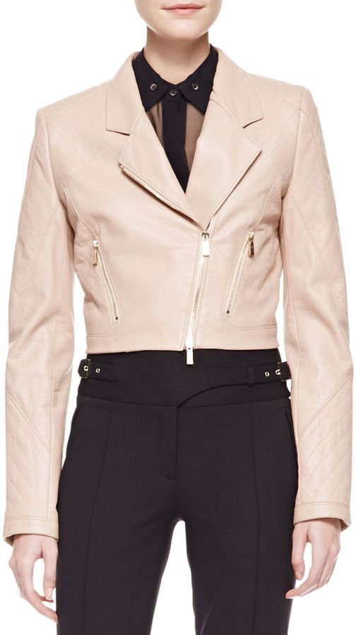 $1,396, Pink Leather Jacket: Jason Wu Cropped Leather Motorcycle Jacket Nude. Sold by Neiman Marcus. Click for more info: http://lookastic.com/women/shop_items/43776/redirect